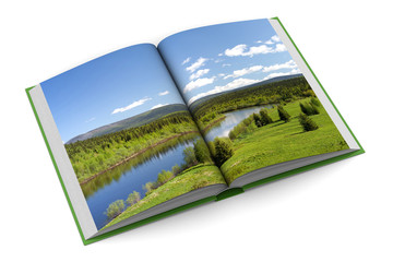 Opening book on white background. 3D image