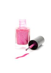 spill nail varnish on white background