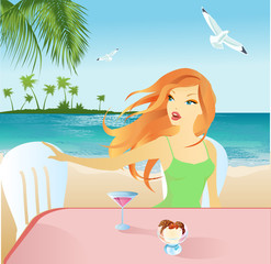 Beautiful girl on the beach cafe