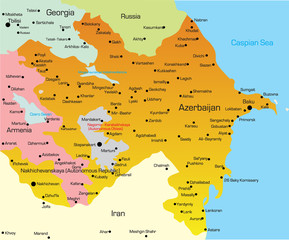 Vector illustration of Azerbaijan Map