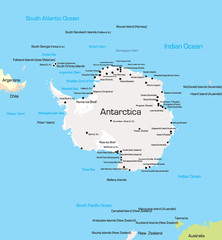 Vector color Map of Antarctica