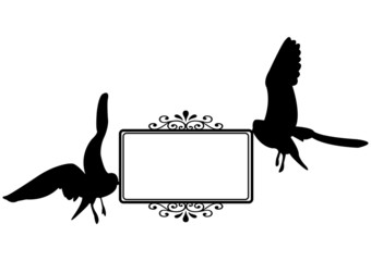 Flying sea-gulls carrying blank card vector illustration