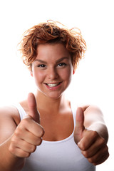 both thumbs up young woman 3
