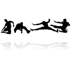 jumping men silhouettes