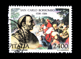 A stamp printed in Italia show San Carlo Borromeo circa 1988