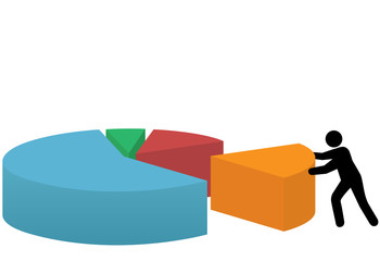 Business person last piece of market share pie chart