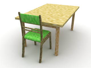 Chair and a table