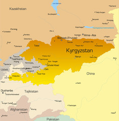 Vector color map of Kyrgyzstan country