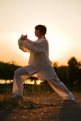 Foto op Aluminium Vechtsport woman in white suit make's taiji chuan exercise - 8