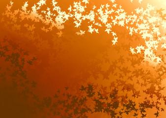 Fond dégradé orange lumineux et envolée de feuilles mortes
