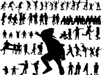 silhouette of children in all kind of action