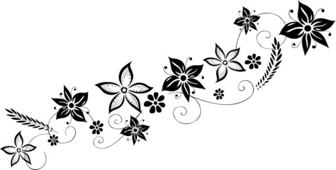 Blumenranke mit einzelnen Blüten, floral