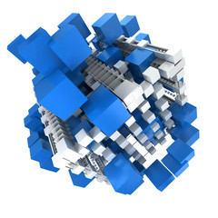 blue and white structure