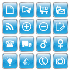 Web Buttons (Miscellaneous I) (blue; vector) (x16)