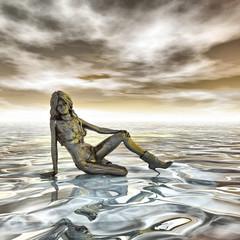 Frau in sitzender Position
