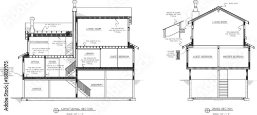 section  view  of house  plans  Stock image and royalty free