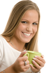 Young woman drinking coffe