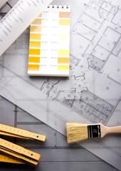 House blueprints close up