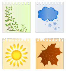 Leaves of a calendar with the image of seasons