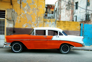 Garden Poster Cars from Cuba Orange American old car