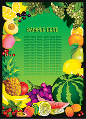 Beautiful fruits frame and sample text. Healthy food.