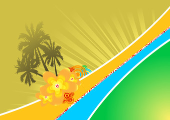 Banner with palms and sunshine. Vector illustration