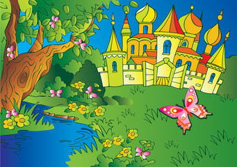 Printed roller blinds Castle Beautiful landscape with a castle and river. Fairy-tale.