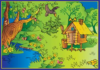Fotobehang Kasteel Hut on chicken legs in woods. Fairy-tale.