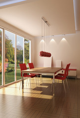 3d rendering modern dining room
