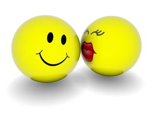 High resolution smileys kissing