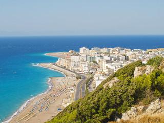Rhodes town tourist district coastline, Greece