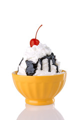 Hot Fudge Sundae With Whipped Cream And Cherry