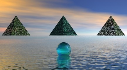 Pyramids at the edge of the water