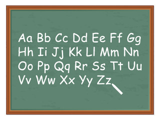 chalkboard and alphabet