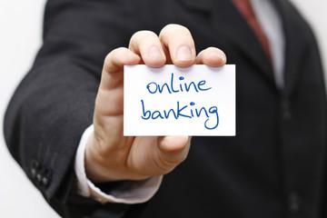 Karte oder Schild mit online banking