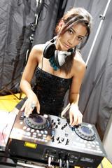 Disco karaoke teen, headset and turntable