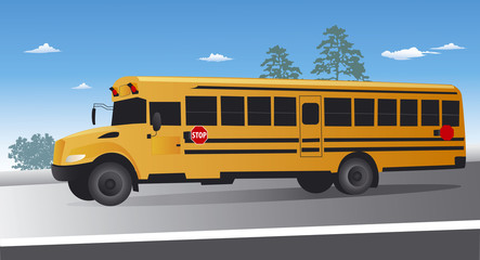 Yellow school bus on the move