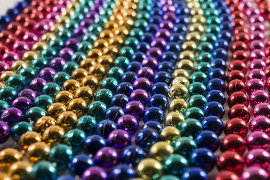 Rows of Mardi Gras Beads
