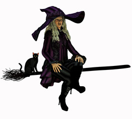 Witch on her broomstick 3D render