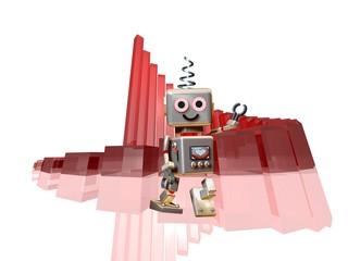 Fototapeta robot robi in front of success diagram obraz