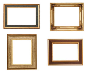 Golden picture frames, isolated on white
