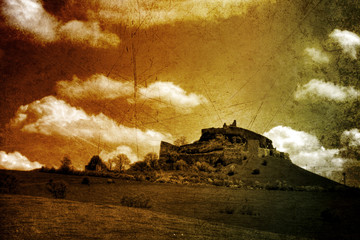 fortress - toned picture in retro style