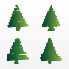 A set of vector Christmas trees
