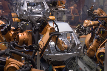 Production line in a car factory