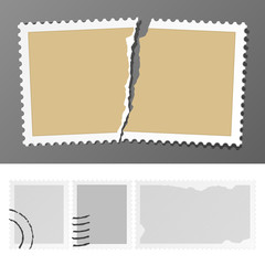 Set of postage stamps. Vector. Insert your photo or graphics.