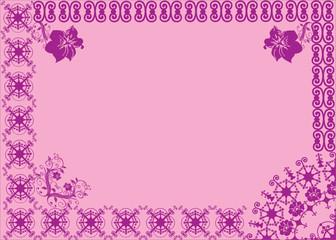 violet asymmetric frame on pink