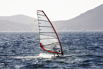 wind surfer enjoying freedom and speed