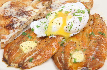 Kippers and Poached Egg Breakfast