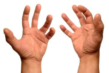 les mains crispées