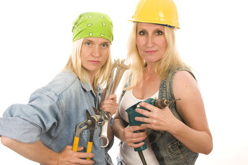 sexy team contractor construction ladies with tools